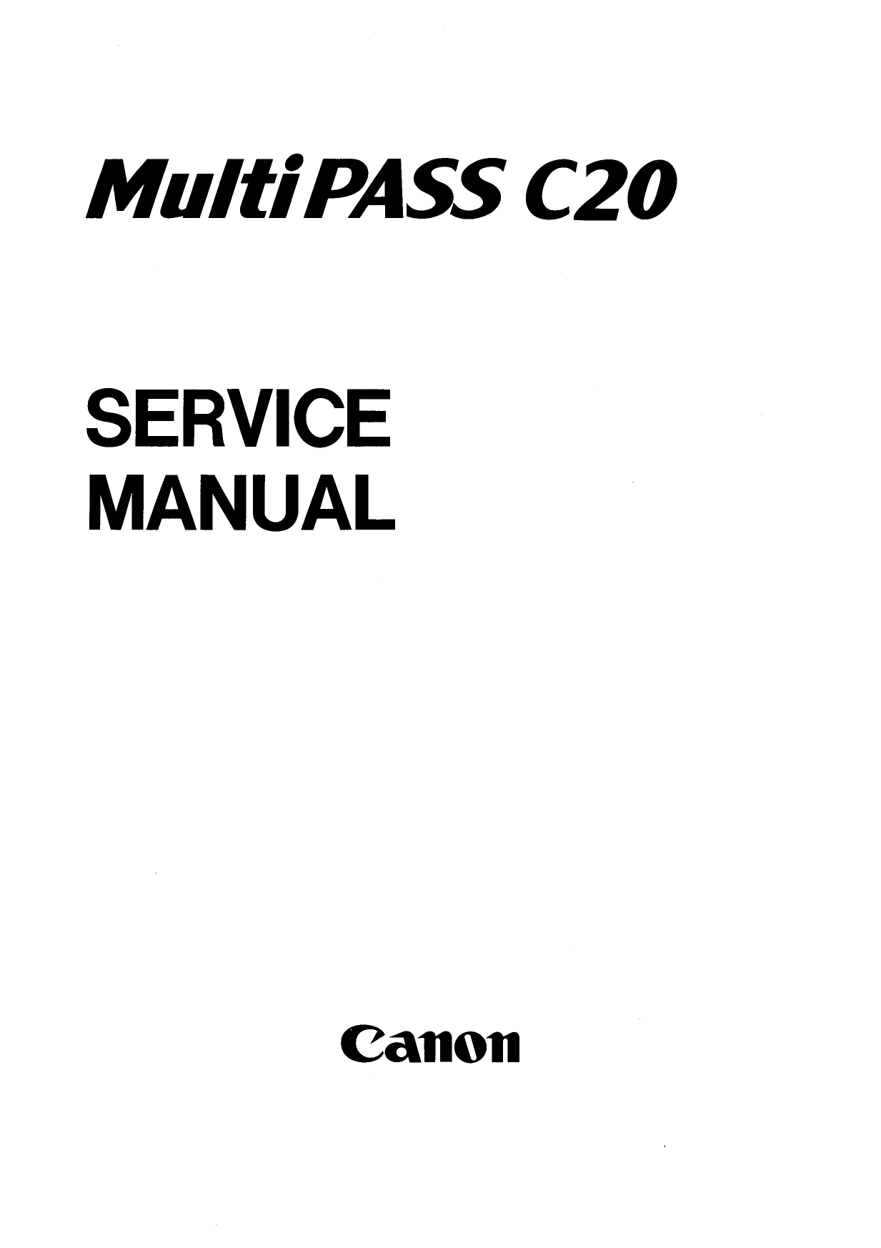 Canon FAX MultiPass-C20 Parts and Service Manual-1